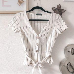 BERSHKA V neck tie front striped white top
